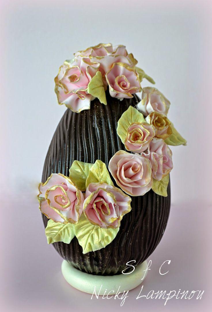 chocolate easter egg with flowers Sugar flowers Creations-Nicky Lamprinou: Πασχαλινές, γλυκές ... προτάσεις
