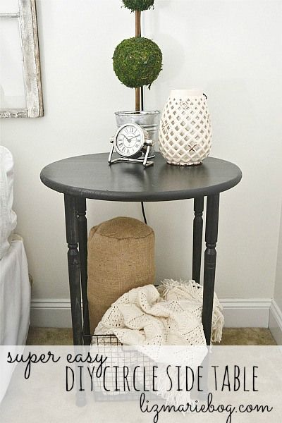 Super easy DIY circle side table! lizmarieblog.com