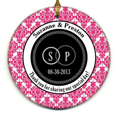 Hot Pink Damask Engagement Photo Ornament Wedding Favors