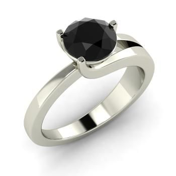 Round Black Diamond  Solitaire Ring in 14k White Gold
