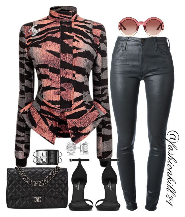 Date Night by fashionkill21 on Polyvore featuring polyvore fashion style Citizens of Humanity Yves Saint Laurent Chanel Hermès Allurez Gucci women's clothing women's fashion women female woman misses juniors