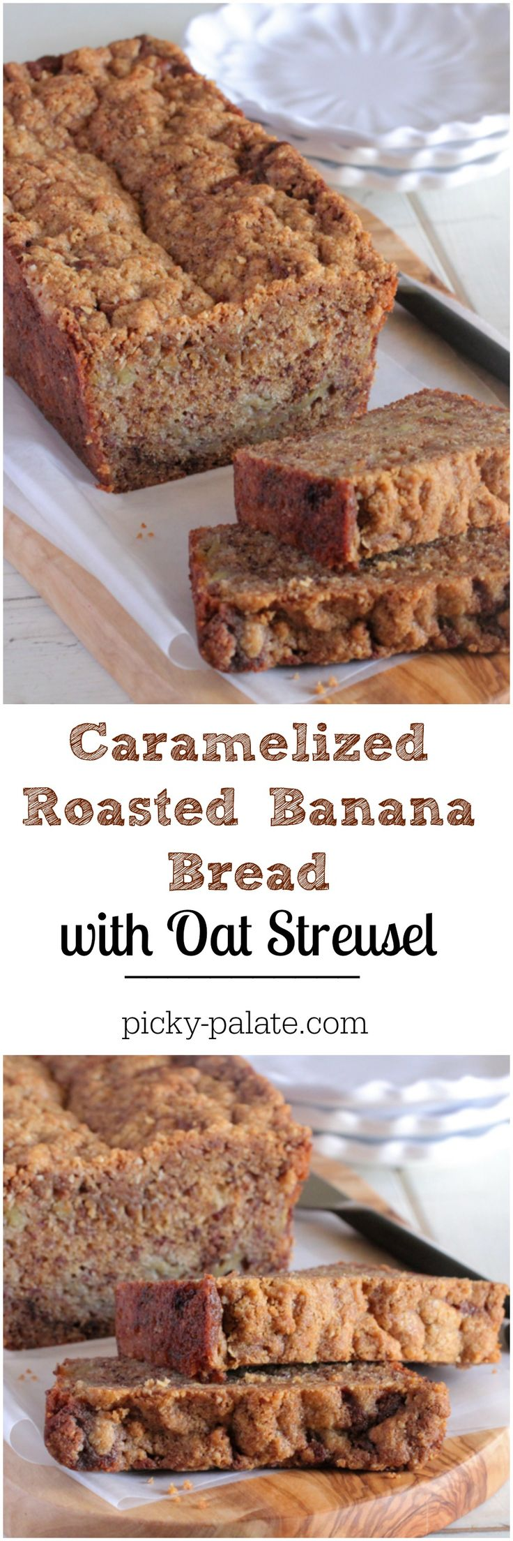 Caramelized Roasted Banana Bread with Oat Streusel! Beautiful and delicious banana bread! #QuakerUp #bananabread #baking #recipe