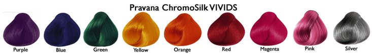 Pravana Chromasilks Vivids Color chart I love buying the primary colors and mixing them together to get the right shades. The red, I've found, had too much of a pink undertone for my liking, so I mix it with the Yellow to get a nice copper.