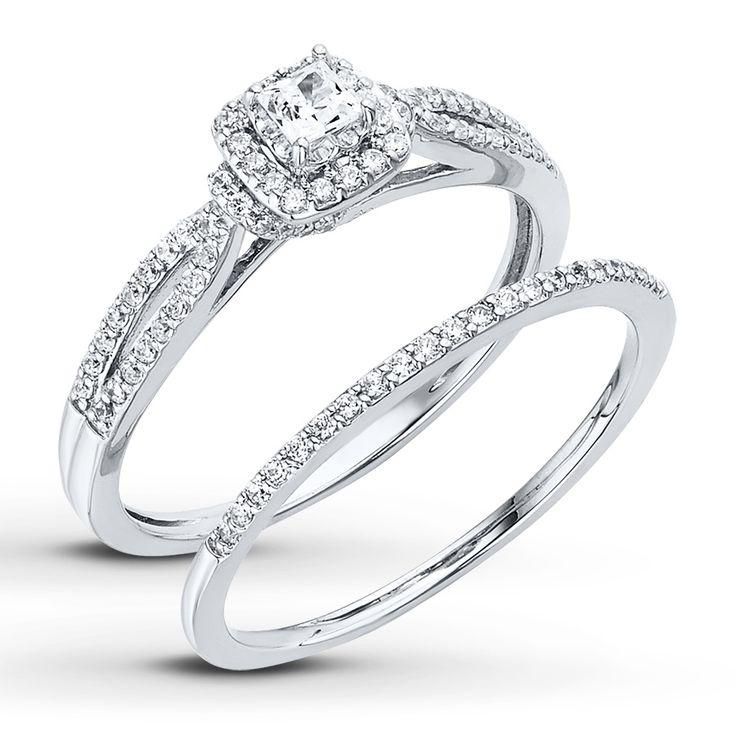 Diamond Bridal Set 1/2 ct tw Princess-cut 14K White Gold | Jared Jewelers *I love this!*