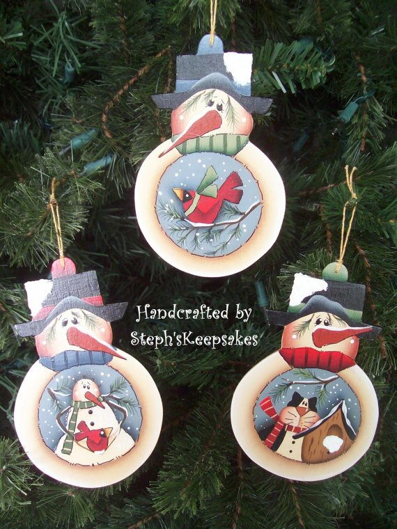 Handpainted Snowmen Ornaments Set por stephskeepsakes en Etsy