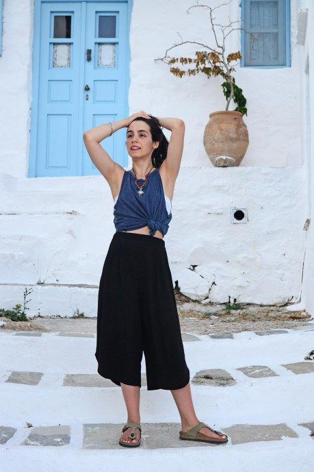 Greek Islands Outfit Black Jupe Culotte, Athletic Tank top <3 Badila,with love! Summer Fashion