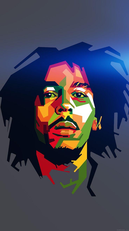 He08 Bob Marley Blue Art Illust Music Reggae Celebrity Iphone 6 WallpaperRoom