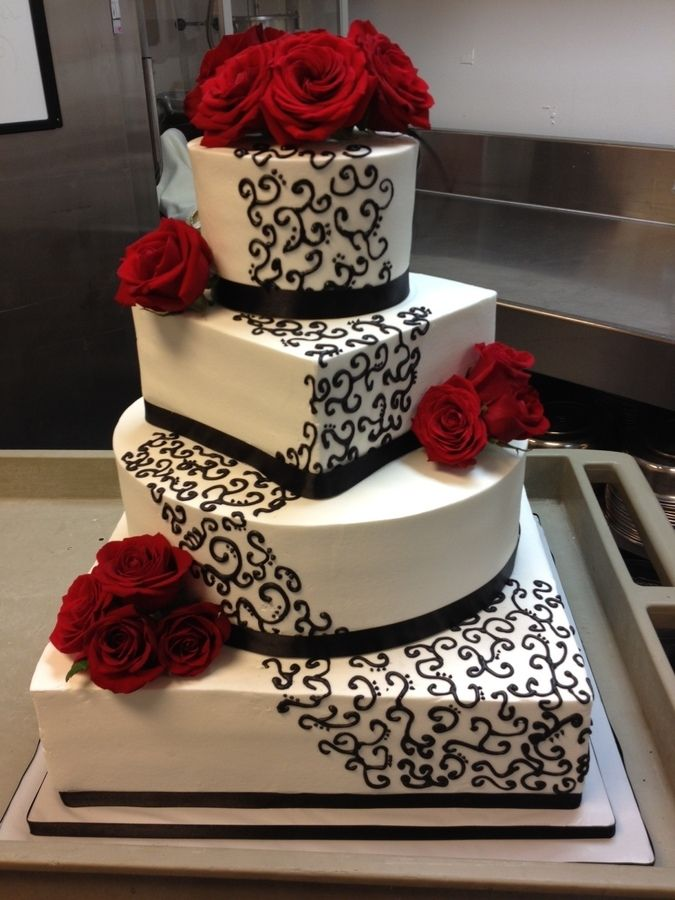 Red, White and Black cake..idk about the same colors but this looks great