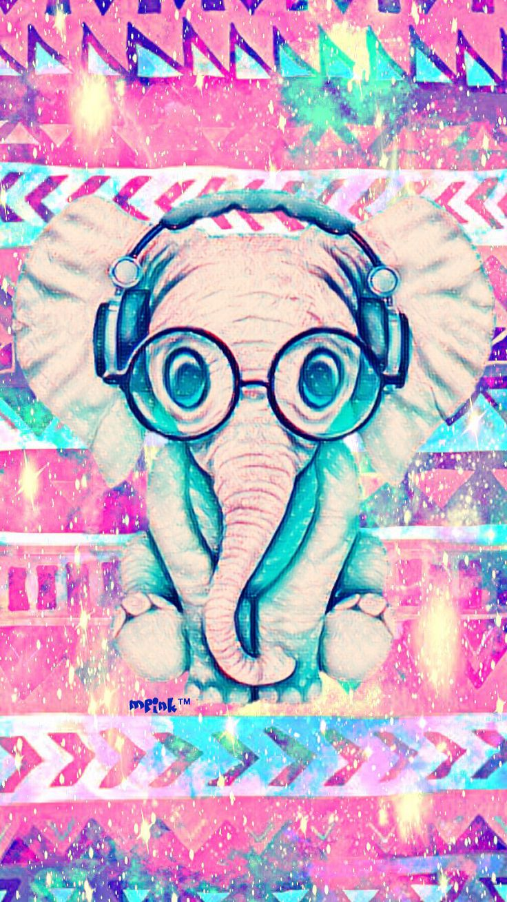 Cute Baby Elephant Tribal iPhone/Android Wallpaper I