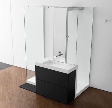 """Proposto dal produttore Roca, il """"piatto doccia"""" comprende doccia, lavabo, i rubinetti e stoccaggio. Un all-in-a-adatto per piccoli spazi ...."""