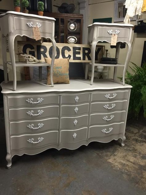 Gorgeous French Provincial set redone using Rethunk Junk furniture paint in Gray Mist with Cotton trim. Stunning! No sanding, Priming or WAXING ever! #rethunkjunk #breakthechalkhabit #nowaxever