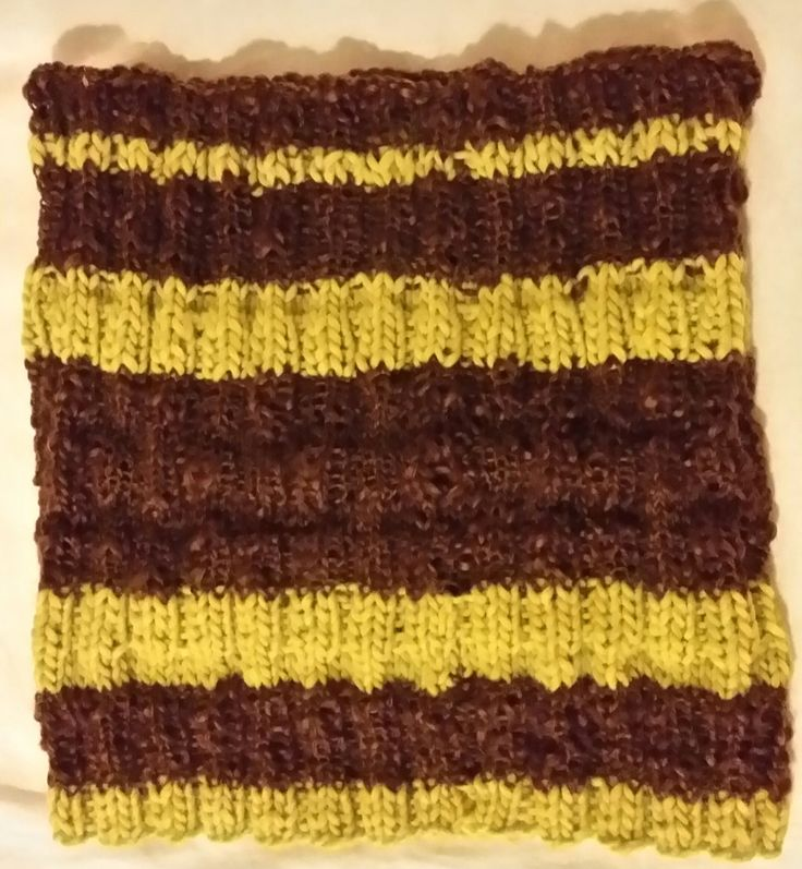 Handknitted cowl in chocolate brown and lime green by LynnesEbooks on Etsy