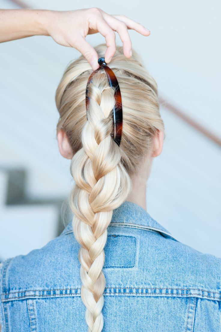 4 Easy & Unexpected DIY 'Dos — All Using Hair Accessories!  #refinery29  http://www.refinery29.com/39041#slide6  Step 4: Clamp the banana clip through the hair and around the sides of the braid.