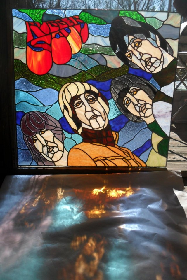 Beatles Rubber Soul album cover in stained glass