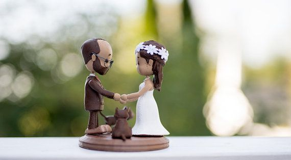 Watch Love Grow, 3D Printed Wedding Cake Topper, Bride And