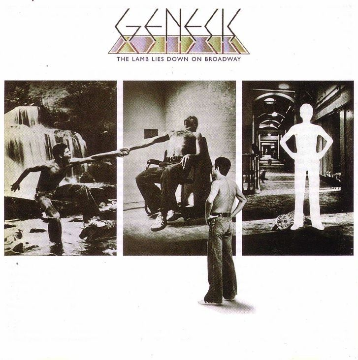 Genesis artwork by Hipgnosis & Storm Thorgerson (The Lamb Lies Down on Broadway, 1974).