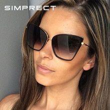 SIMPRECT Retro Big Cat Eye Sonnenbrille Frauen 2019 Schwarz Spiegel Sonnenbrille…