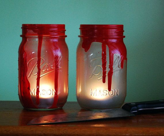 halloween mason jar candle set bloody murder by dsdecor on etsy - Bloody Halloween Decorations