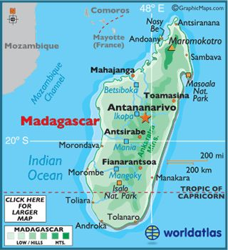 This is the map of the African country Madagascar. It shows the capital of Madagascar which is Antananarivo and other countries. This map shows the oceans surrounding Madagascar.