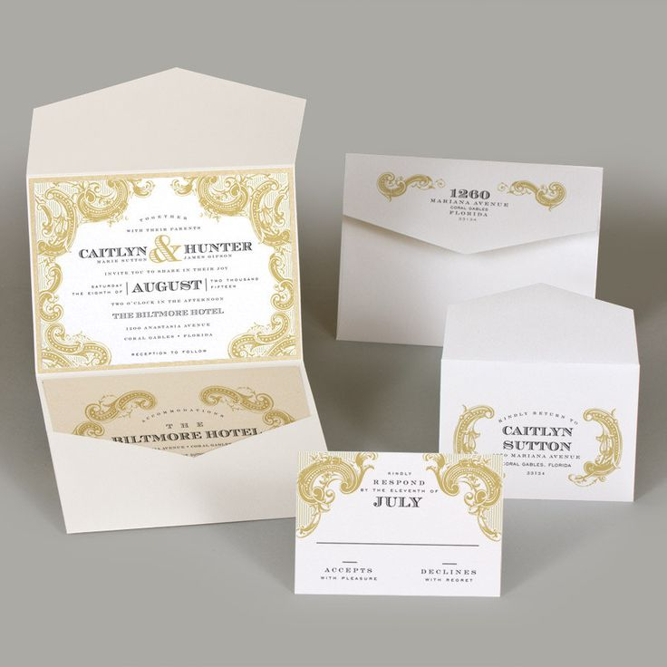 box wedding invitations online%0A Vintage Gold Wedding Invitation Gold Motif Wedding by SuitePaper