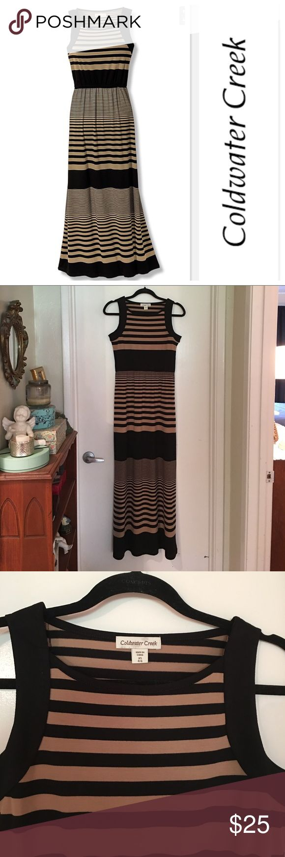 "NEW Maxi Dress!!! NWOT Coldwater Creek ""Sunday in Brooklyn"" Maxidress!!  Never worn, tags removed!  Size XS (4-6). Beautiful classy striped beige and black!  Flattering fit!  Armpit to armpit measures 17"". Length from shoulder to bottom hem is 56"".  Elastic gathered at waist.  Perfect summer occasion dress!! 👒👠🕶 Coldwater Creek Dresses Maxi"