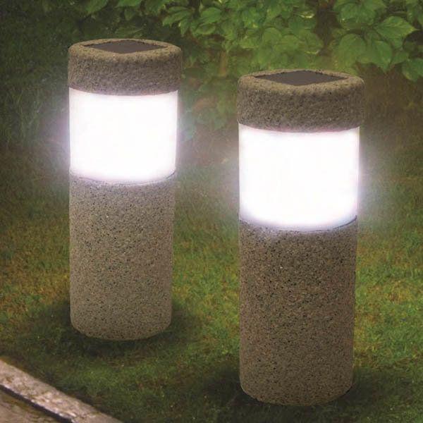 1000 ideas about stone pillars on pinterest craftsman - Led solar jardin ...