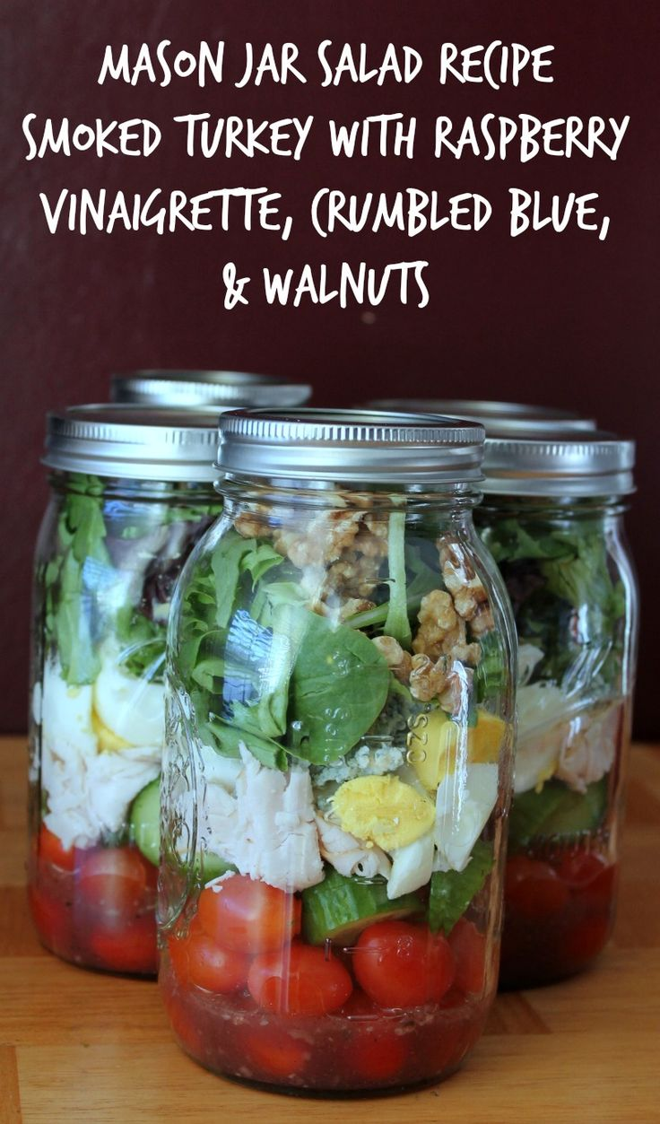 Mason Jar Salad Recipe: Smoked Turkey with Cherry Tomatoes, Cucumbers, Hard Boiled Eggs, Raspberry Vinaigrette, Crumbled Blue, and Walnuts. For more follow @organizeskinny