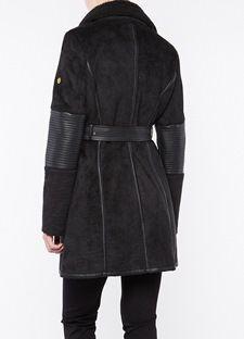 Sheepskin midi παλτό με φερμουάρ