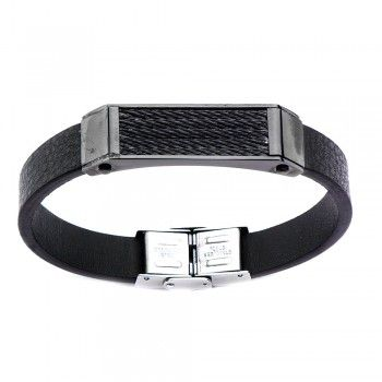 Men's Black Leather and IP Black Cable Pro BraceletBlack Cable, Ip Black, Black Leather, Men Black