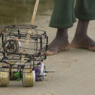African children's homemade wire toy car