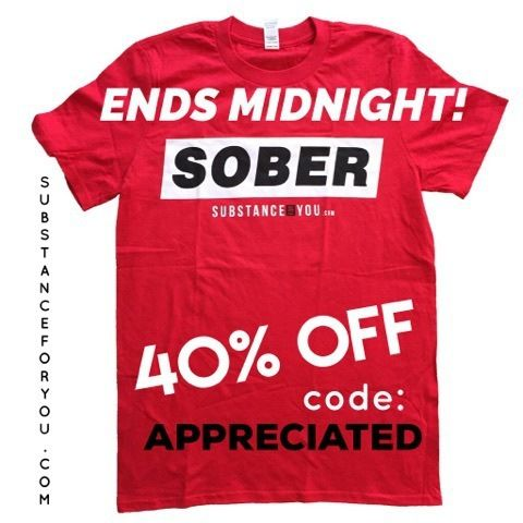 ONE HOUR LEFT! A LOT GOING OUT OF STOCK! click link in our bio to redirect to our site and use code APPRECIATED for 40% off at Checkout! SubstanceForYou.com   #recoveryispossible #sober #soberlife #sobriety #sobermovement #Soberissexy #partysober #recovery #addictionrecovery #recoveryroad #alcoholicsanonymous #mentalhealth #drugfree #eatingdisorders #advocate #bullying #selfhelp #amwriting #reading #author #awareness #clean #cleanlife #cleanliving #suicide #SubstanceForYou #Lifestyle