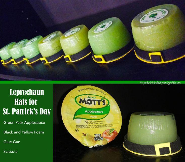 Leprechaun Hats for St. Patrick's Day craft using green pear applesauce cups, da…