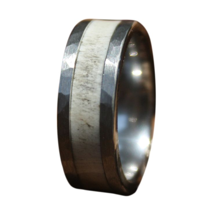 Tungsten Deer Antler Ring with Hammered Edge  - Rugged and Strong for the Man's man in your life!