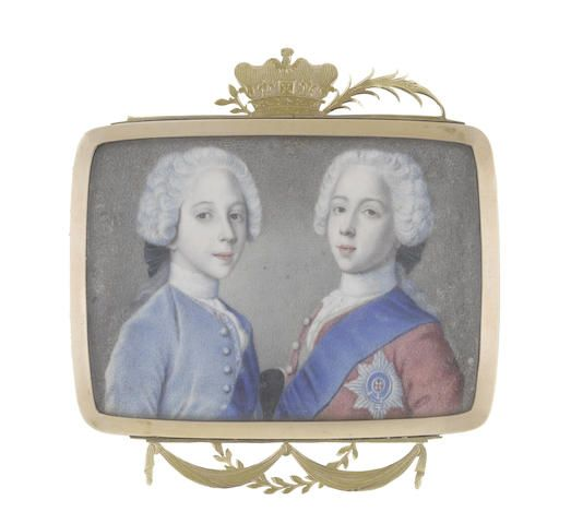 A double portrait of Princes Charles Edward Stuart (1720-1788) and Henry Benedict Stuart (1725-1807): the former, wearing red coat, white lace cravat and stock, blue sash and breast star of the Order of the Garter, the green sash of the Order of the Thistle visible under his coat; the latter, wearing pale blue coat, embroidered waistcoat, white lace cravat and stock, blue sash of the Order of the Garter. Circle of Jean Étienne Liotard (Swiss, 1702-1789).