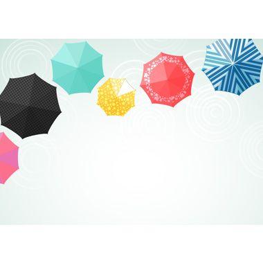カラフルな傘行列の背景無料イラスト/梅雨