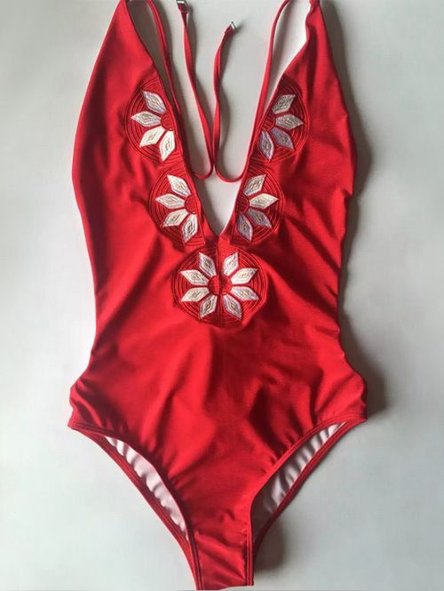 Embroidered Cami One-Piece Swimwear