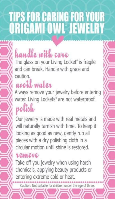 How to take care of your Origami Owl jewelry! Origami Owl Independent Designer http://mollychristian.origamiowl.com/default.aspx