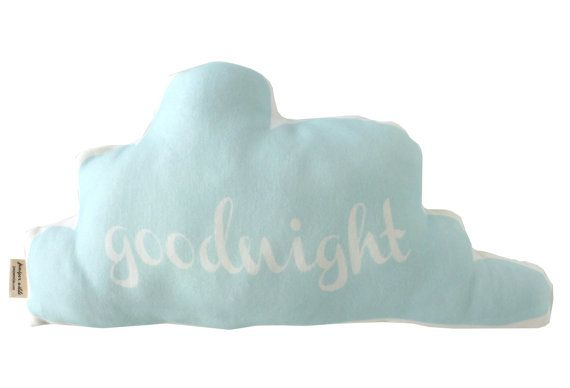 Cloud Goodnight Pillow in Light Aqua Blue 14 W x 8.5 H    This pillow is made out of beautifully soft ORGANIC knit material and printed with an