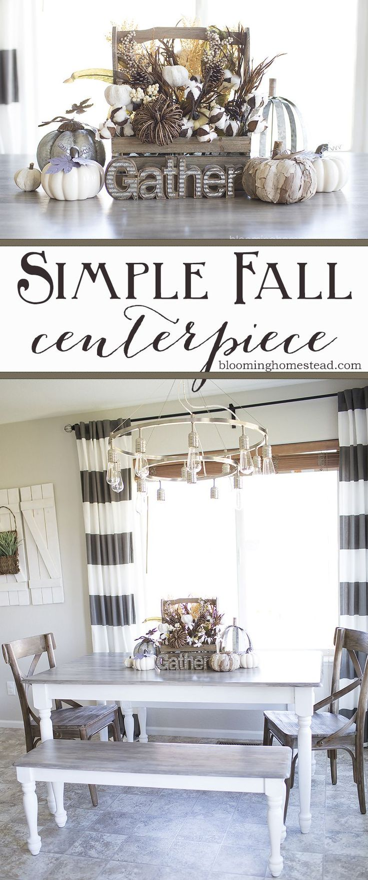 Simple and beautiful DIY Fall Centerpiece with a farmhouse feel. #HobbyLobbyStyle #HobbyLobbyFinds #ad @hobbylobby