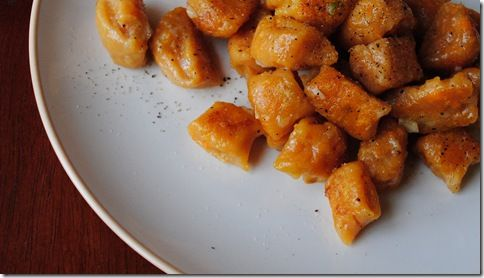 Sweet Potato Gnocchi. Something I've never made before (or, uh, eaten), and I have all of the ingredients! :)