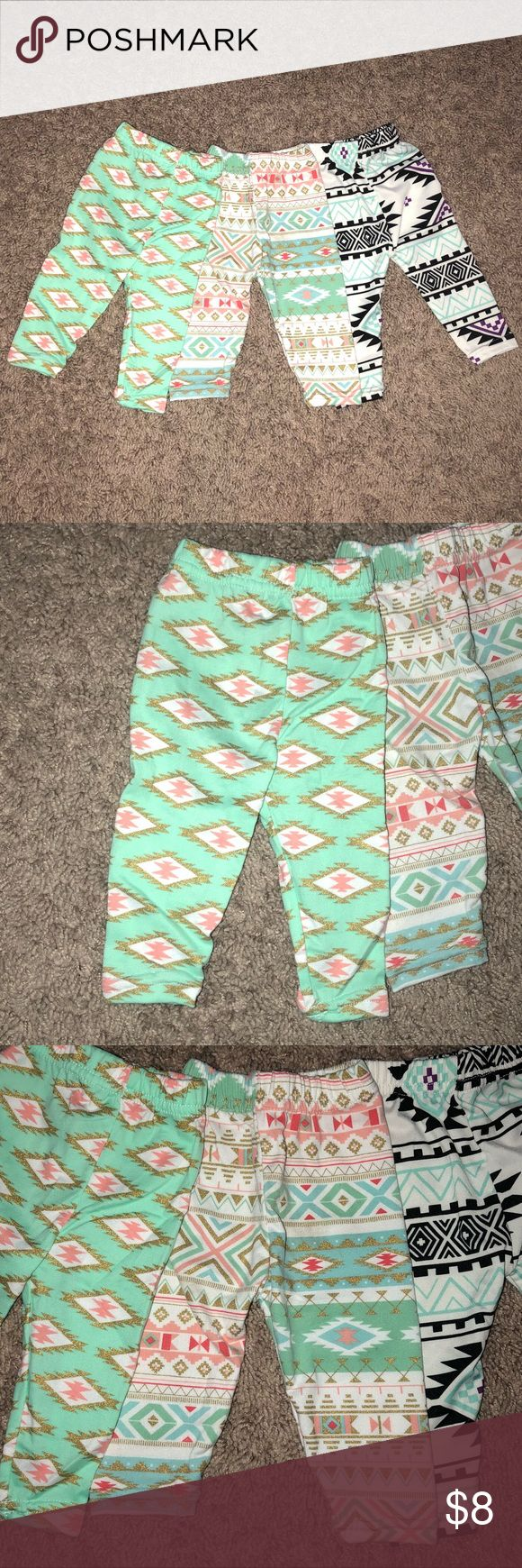 3 Tribal Print Leggings 3 Pairs of Leggings All different Tribal and Aztec Style Prints   Size XS (0-3M)   Feel free to make an offer! Bailey's Blossoms Bottoms Leggings