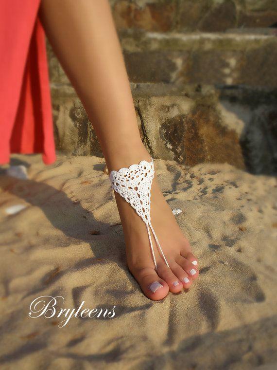Bridal Barefoot Sandals White crochet barefoot sandals by Bryleens
