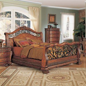 Yuan tai furnitureFinish:cherry, bed size:eastern king nicholas bed resin  carvings sleigh bed wrought iron headboardand footboar homefurnitureshowr