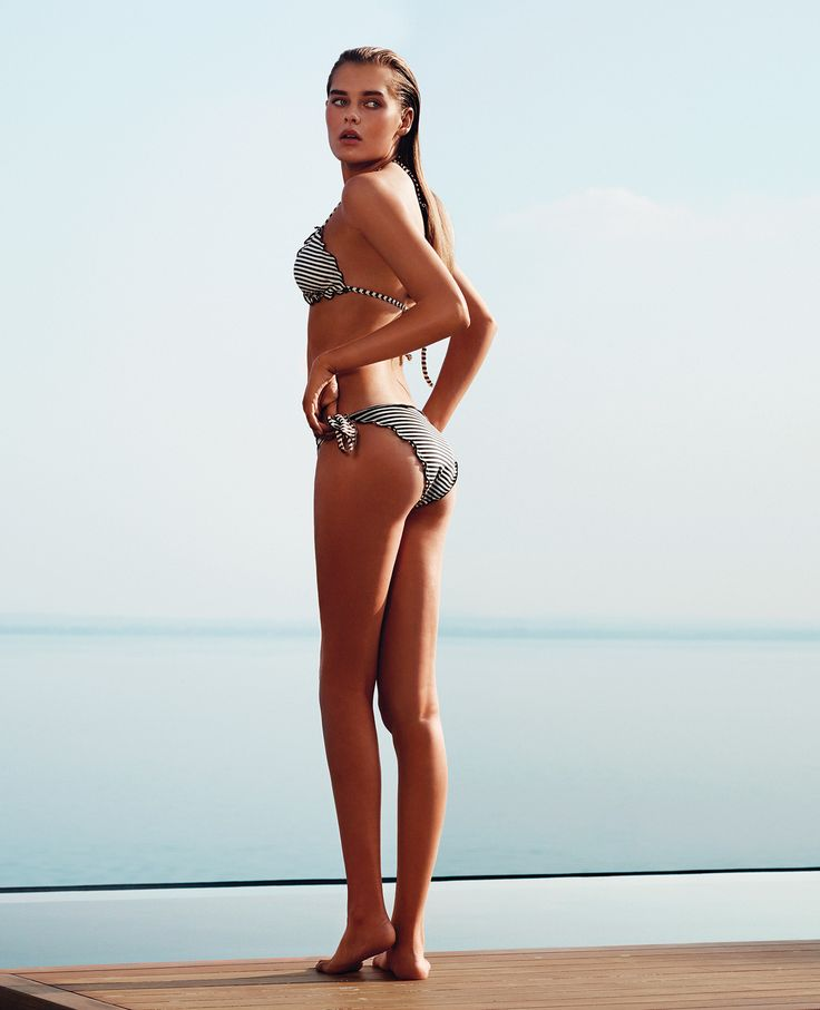 TWIN-SET Simona Barbieri: triangles bra in striped pattern fabric with matching frilled edging and tanga with striped lateral bows