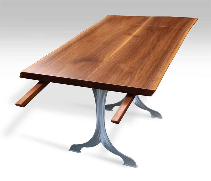 live edge walnut table with two extensions u0026 brushed steel legs