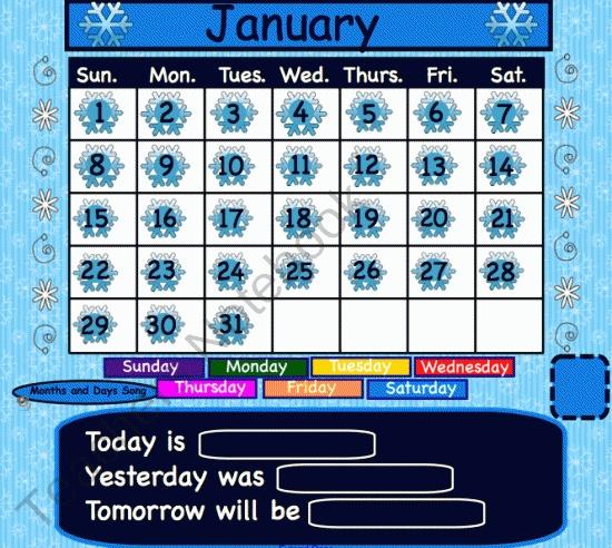 January Interactive Calendar product from 1-2-3-Interactive-Classro on TeachersNotebook.com