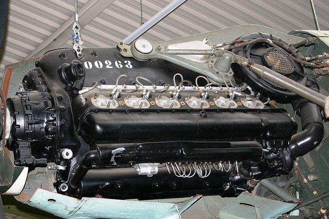Daimler-Benz 35.7 litre, 1,475 hp liquid-cooled inverted V12, DB 605A aircraft engine.
