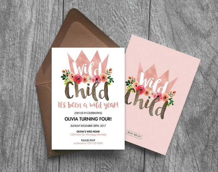 Rose Gold Girls Wild Child First Birthday Invitation 1st birthday Invitation Floral invitation | Rose Gold Invitation Wild Child Invitation by BooBeanDesign on Etsy