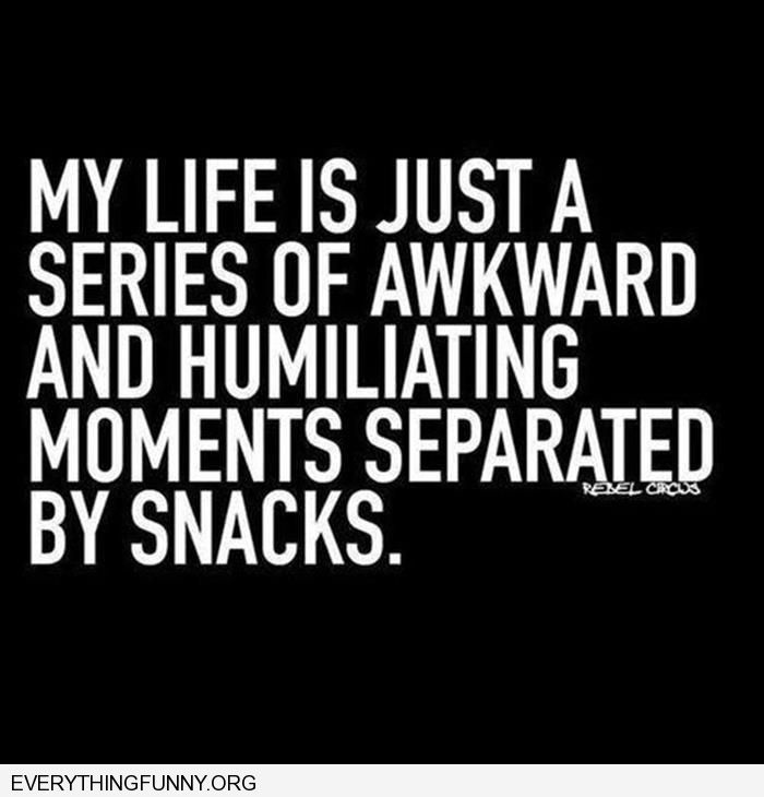 My life is just a series of awkward and humiliating moments separated by snacks.