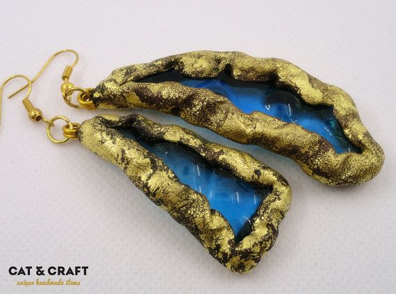 Blue Glass Polymer clay earrings Gold earrings by CatAndCraft